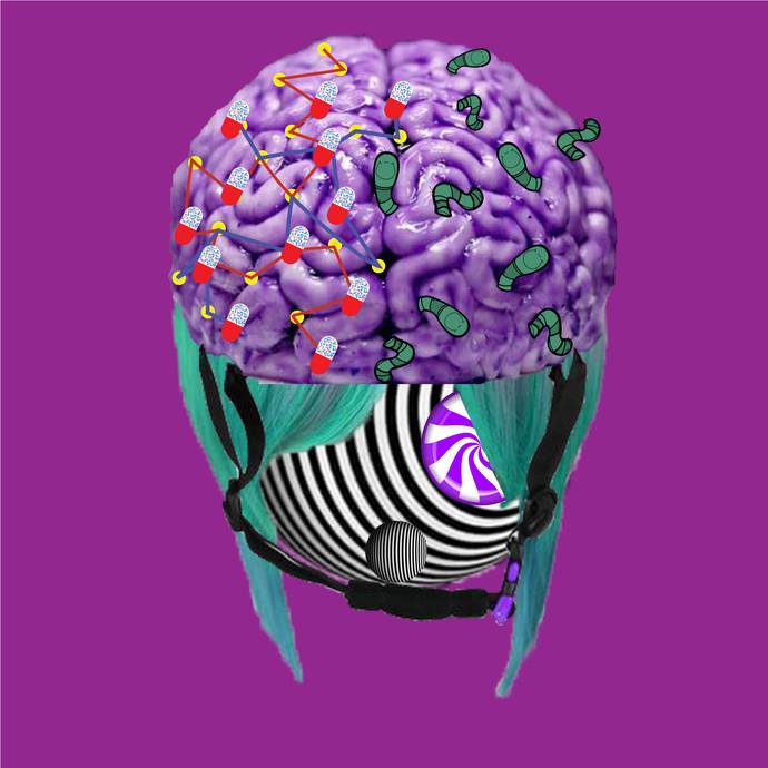 Dying brain cells by Darshana Singh, Surrealism Digital Art, Digital Print on Paper, Plum color