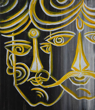 Villagers by Dipankar Lahiri, Expressionism Painting, Acrylic on Board, Aztec Gold color