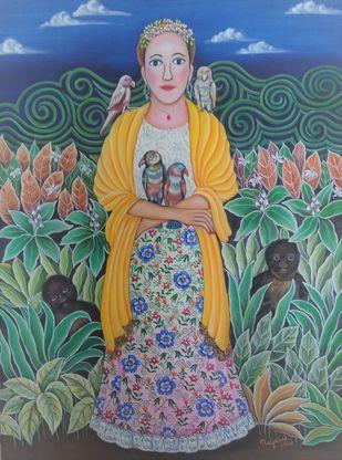 Senorita by Nayanaa Kanodia, Naive Painting, Oil on Canvas, Orange color
