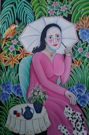 My Garden by Nayanaa Kanodia, Naive Painting, Oil on Canvas, Orange color