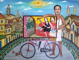 Urgent Delivery by Nayanaa Kanodia, Naive Painting, Oil on Canvas, Brown color
