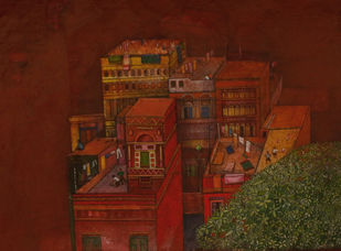 The Community II by Partha Chowdhury, Expressionism Painting, Acrylic on Board, Jambalaya color