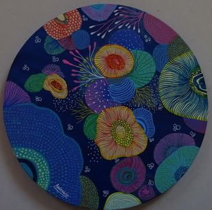 Blue corals by Anissha Deshpande, Expressionism Painting, Acrylic on Canvas, Big Stone color