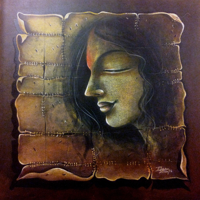 FORGOTTEN LOVE by RITUJA MITRA, Expressionism Painting, Mixed Media on Canvas, Woody Brown color