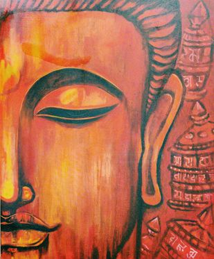 KASYAPA by RITUJA MITRA, Expressionism Painting, Acrylic on Canvas, Raw Sienna color