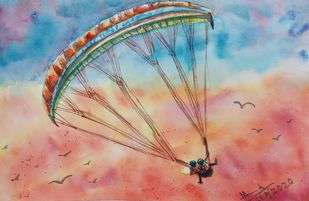 Paragliding in Sunset by Ajay Anand, Impressionism Painting, Watercolor on Paper, Oriental Pink color