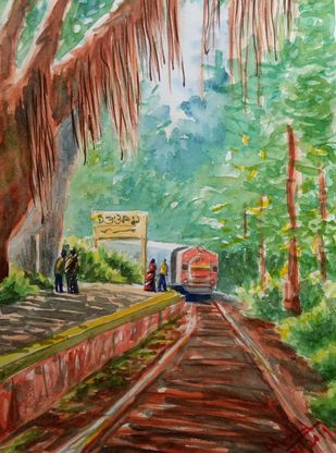 Train in Jungle by Ajay Anand, Impressionism Painting, Watercolor on Paper, Go Ben color