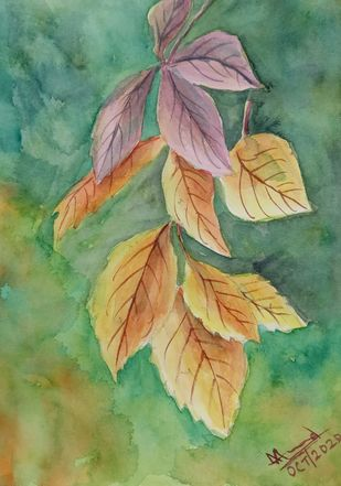 Autumn Colors by Ajay Anand, Impressionism Painting, Watercolor on Paper, Highland color