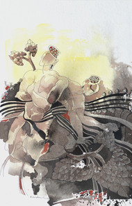 Journey of Buddha III by Kandan G, Expressionism Painting, Acrylic on Paper, Moon Mist color