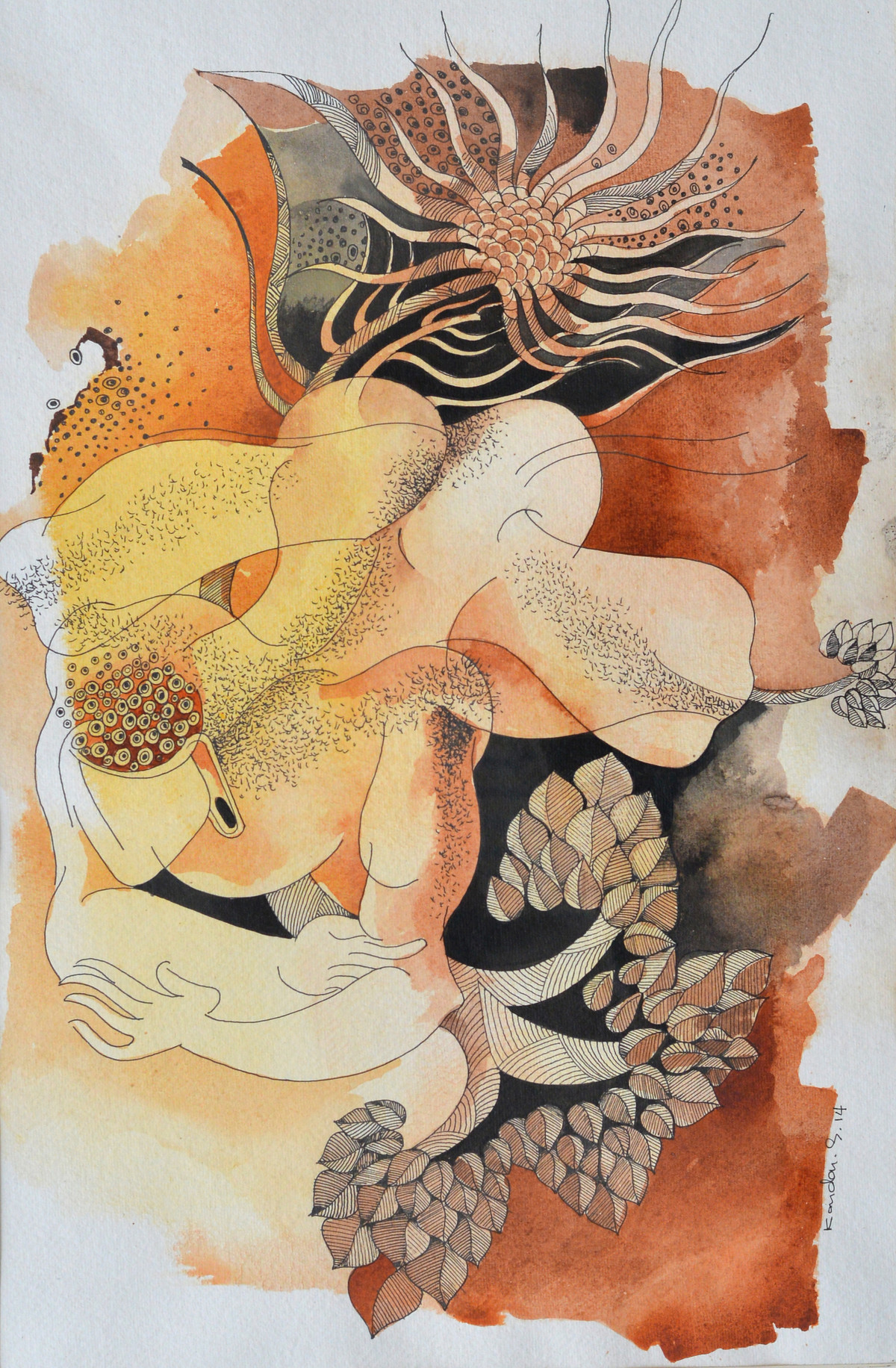 Journey of Buddha IV by Kandan G, Expressionism Painting, Acrylic on Paper, Tan color
