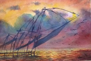 Fishing Nets of Kerala by Ajay Anand, Impressionism Painting, Watercolor on Paper, Almond Frost color