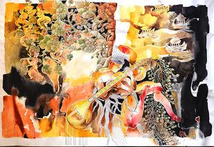 Journey Of Buddha VI by Kandan G, Expressionism Painting, Acrylic on Paper,