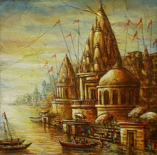 Varanasi by Ananda Das, Impressionism Painting, Acrylic on Canvas, Barley Corn color