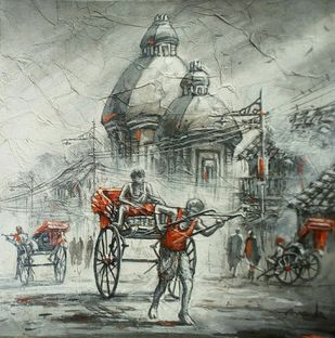 Rickshaw puller by Ananda Das, Impressionism Painting, Acrylic on Canvas, Lemon Grass color