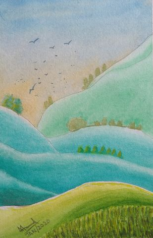 Undulating Hills by Ajay Anand, Impressionism Painting, Watercolor on Paper, Cascade color