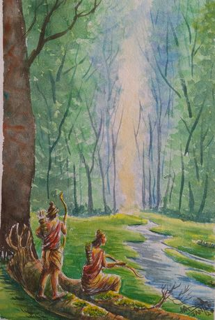 Two Brothers by Ajay Anand, Impressionism Painting, Watercolor on Paper, Camouflage Green color