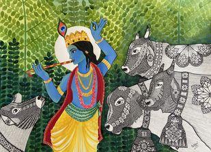 Krishna Divine Love Digital Print by Pallavi Rastogi ,Traditional
