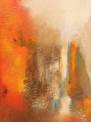 Poetry in Gold 40 by Shan Re, Abstract Painting, Acrylic on Canvas, Raw Sienna color