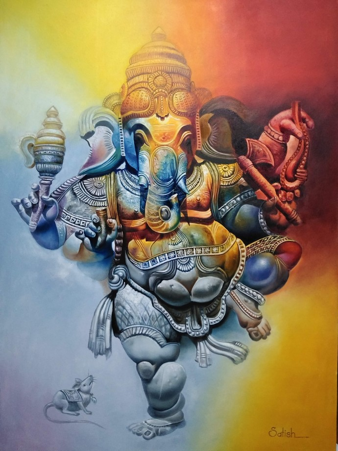 Ganesh by Satish bhagade, Traditional Painting, Oil on Canvas, Mongoose color