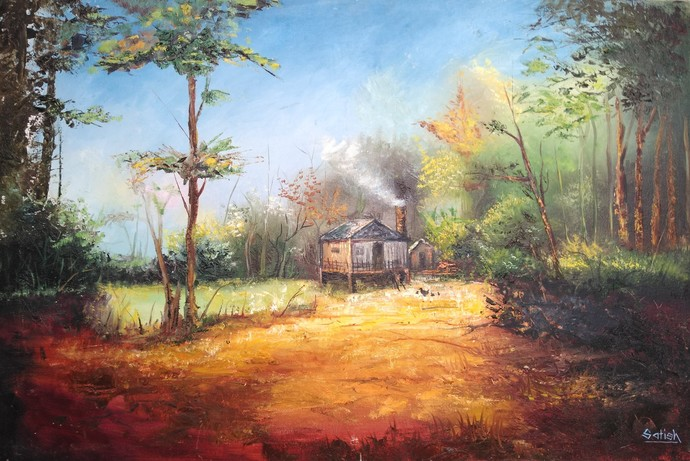 Farm House by Satish bhagade, Impressionism Painting, Oil on Canvas, Olive Haze color