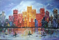 CITYSCAPE by Satish bhagade, Expressionism Painting, Oil on Canvas, Manatee color