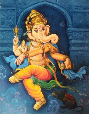 Shree ganesh by Satish bhagade, Photorealism Painting, Oil on Canvas, Big Foot Feet color