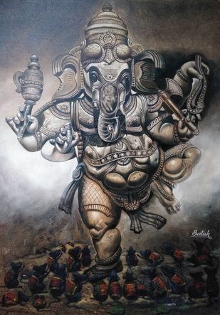 Ganesh by Satish bhagade, Realism Painting, Oil on Canvas, Dune color