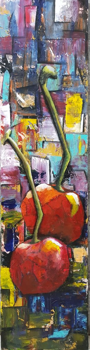 Colorful Cherry 1 by Aparna Bhatnagar, Expressionism Painting, Acrylic on Canvas, Ferra color