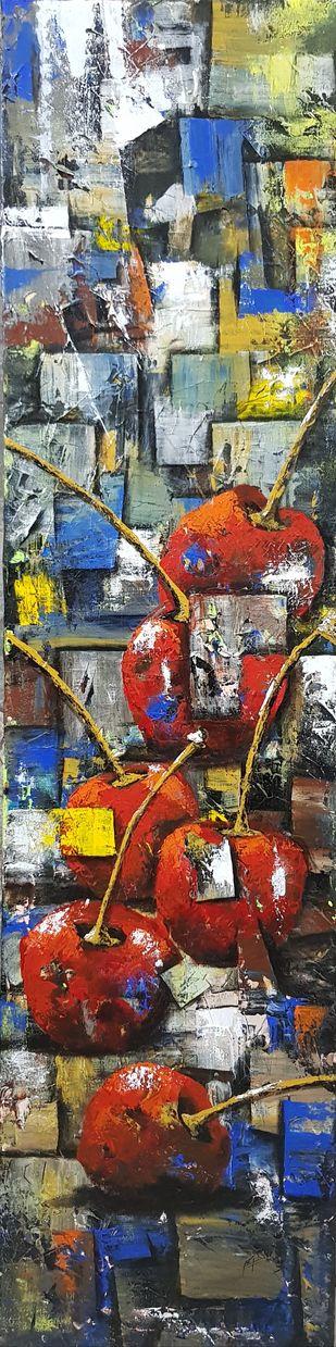 Colorful Cherry 2 by Aparna Bhatnagar, Abstract Painting, Acrylic on Canvas, Tundora color