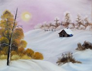 Warm winter day 2020 by Hemant Verma, Impressionism Painting, Oil on Canvas, Gray Suit color