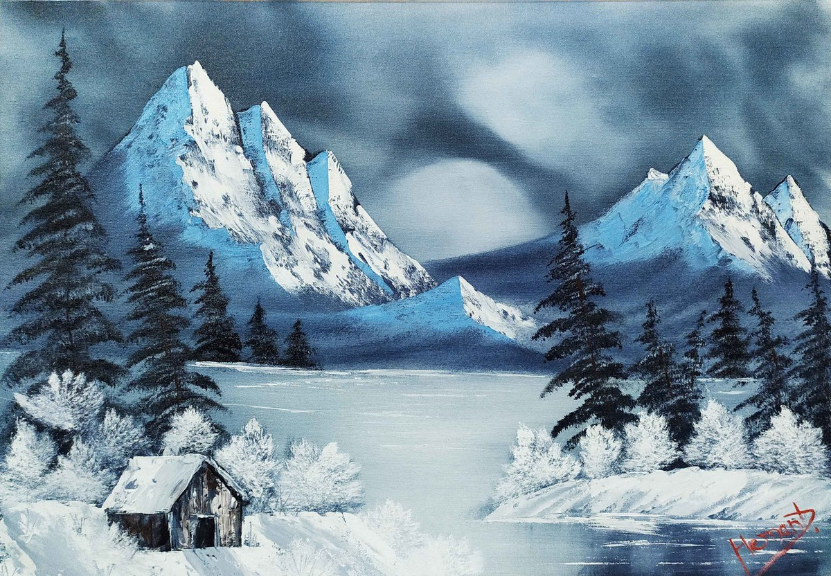 Frozen solitude by Hemant Verma, Expressionism Painting, Oil on Canvas, Smalt Blue color