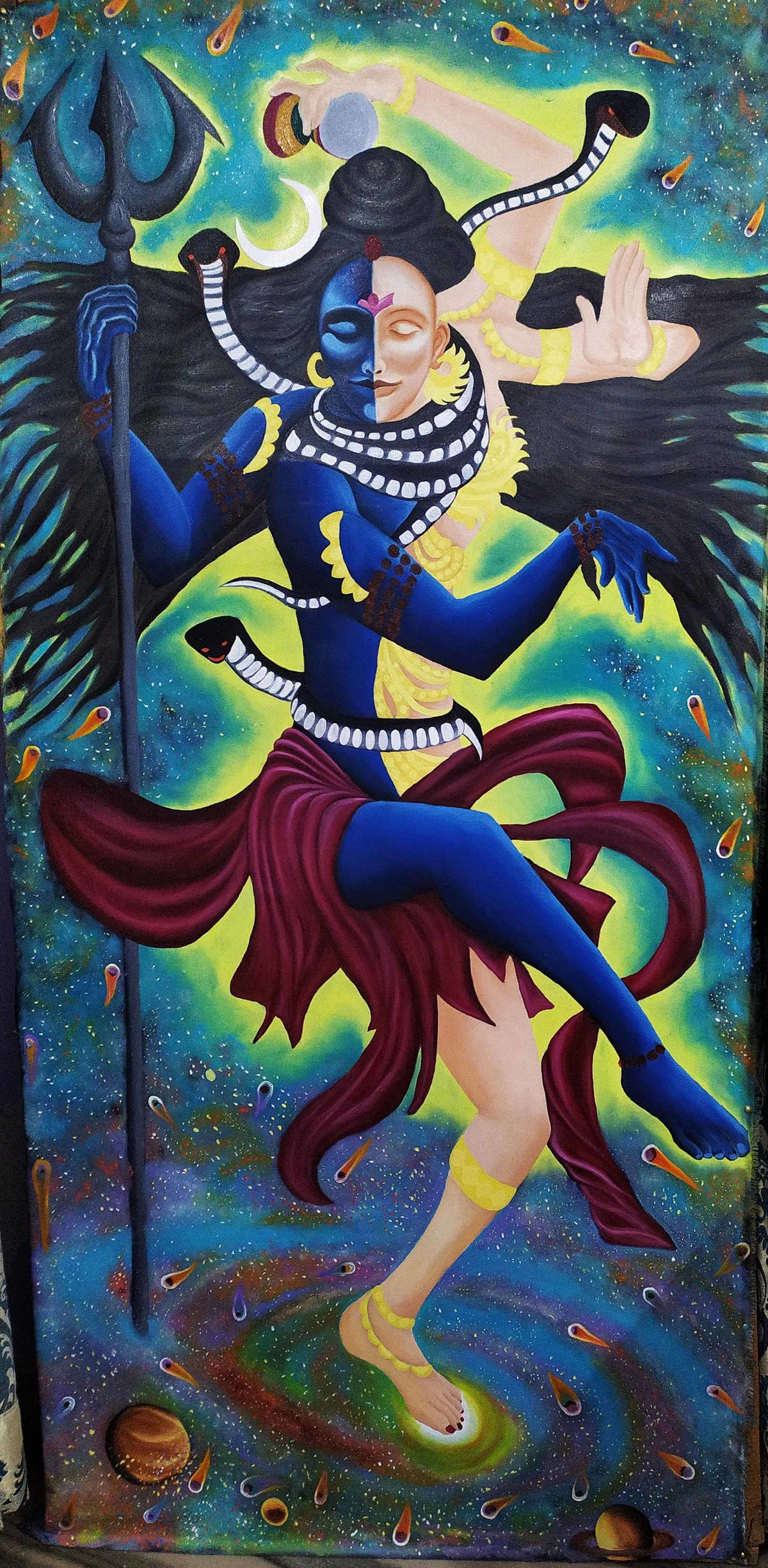 Dance of Creation by Hemant Verma, Traditional Painting, Oil on Canvas, Yuma color