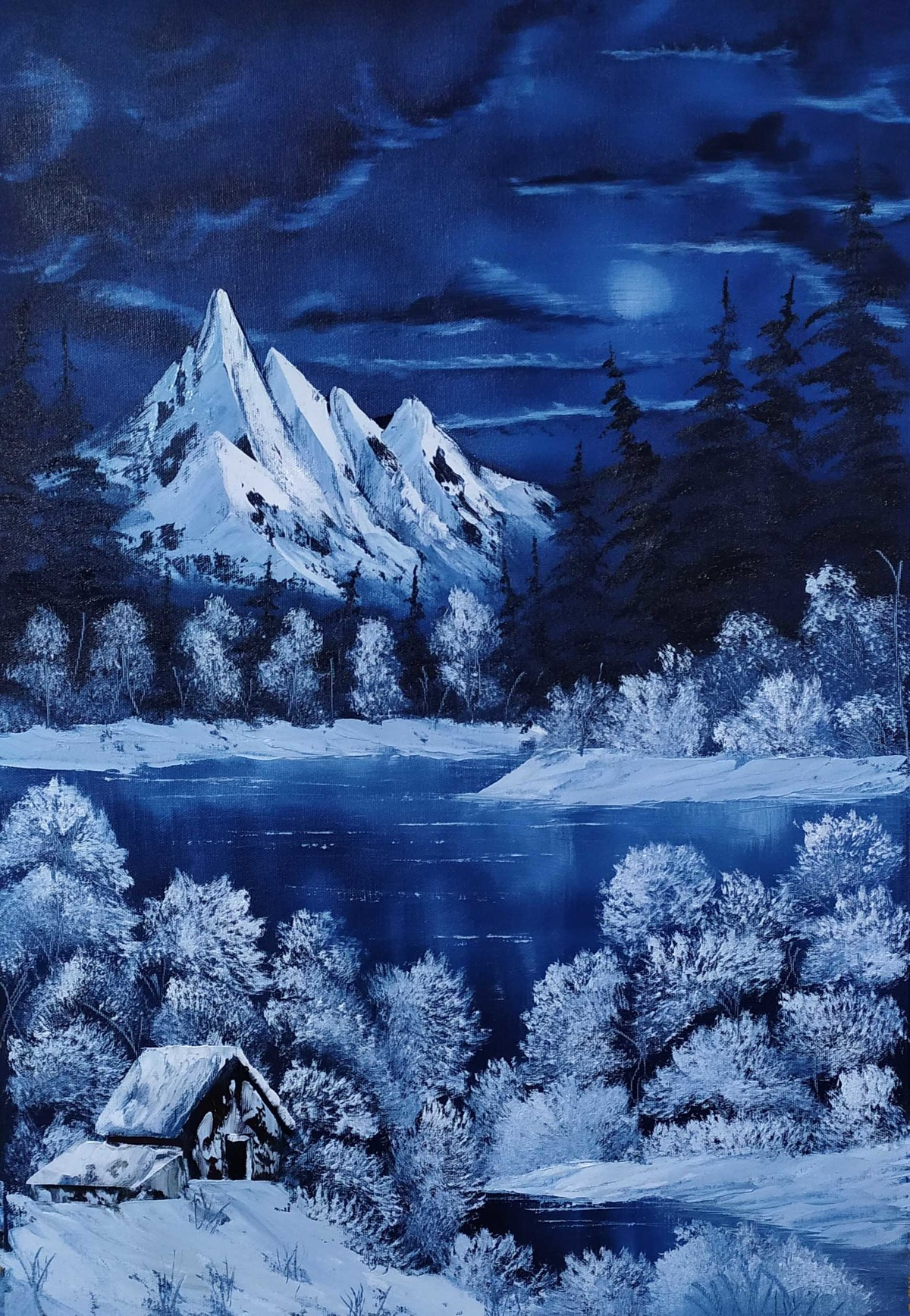 Blue Moon by Hemant Verma, Expressionism Painting, Oil on Canvas, Biscay color