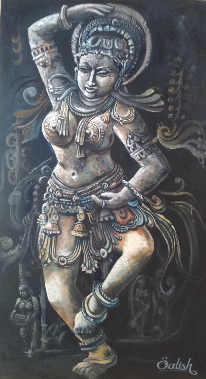 Dancing Lady by Satish bhagade, Traditional Painting, Oil on Canvas, Abbey color