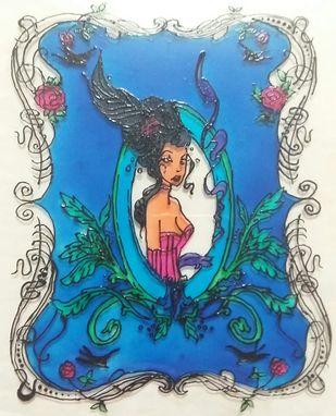 Mirror Mirror On The Wall - Fairy Tales Series by Rubina Shaiwalla, Decorative Painting, Mixed Media on Glass, Pearl Bush color
