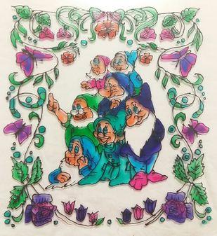 The Seven Dwarfs - Fairy Tales Series by Rubina Shaiwalla, Decorative Painting, Mixed Media on Glass, Pearl Bush color