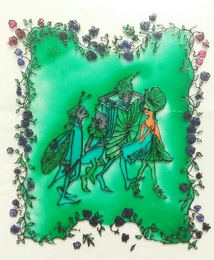 Midsummer Dreams - Fairy Tales Series by Rubina Shaiwalla, Expressionism Painting, Mixed Media on Glass, Jungle Green color