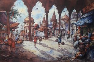 Ganga ghat-3 by Shubhashis Mandal, Impressionism Painting, Watercolor on Paper, Matterhorn color
