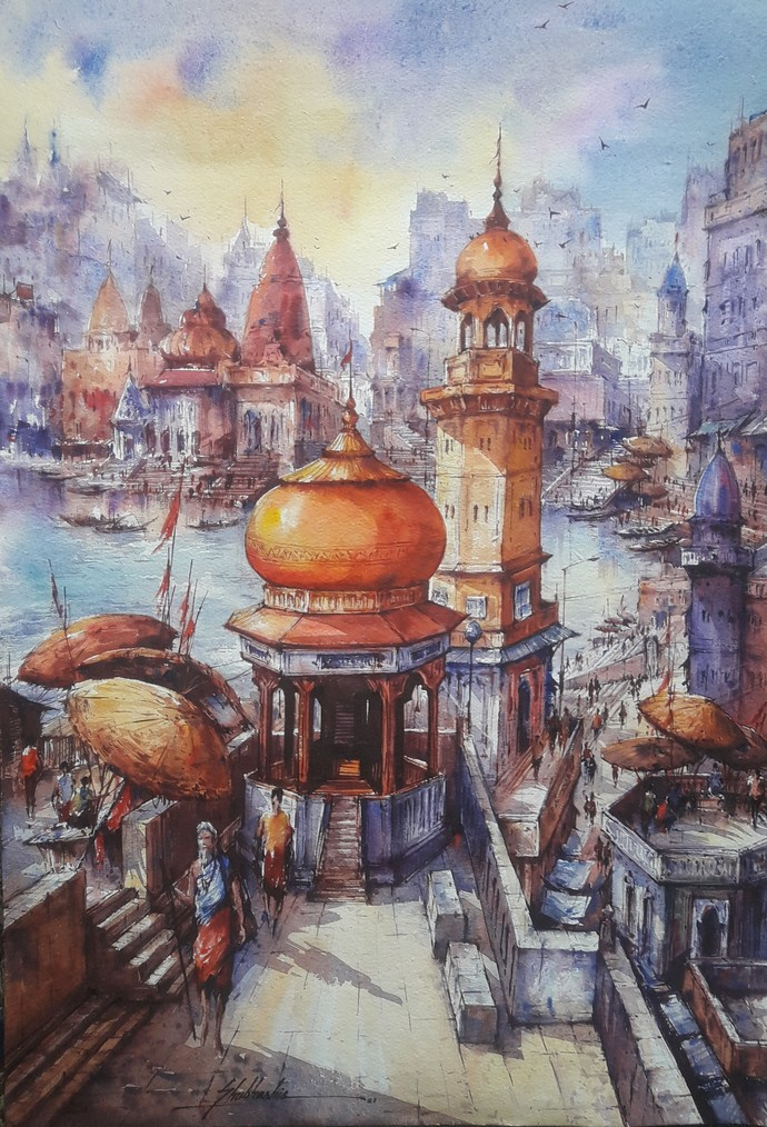 Top view of Varanasi-5 by Shubhashis Mandal, Impressionism Painting, Watercolor on Paper, Pink Swan color