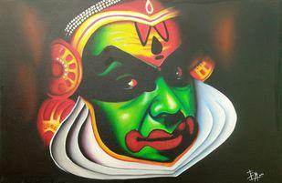 Kathakali by vanavil venkat, Photorealism Painting, Oil on Canvas, Tumbleweed color