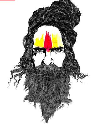 Vairagi by Lokesh Sharma, Digital Digital Art, Digital Print on Enhanced Matt, Hampton color
