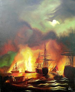 War by vanavil venkat, Impressionism Painting, Oil on Canvas,