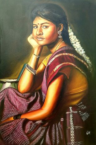 Indian girl by vanavil venkat, Realism Painting, Oil on Canvas, Mondo color