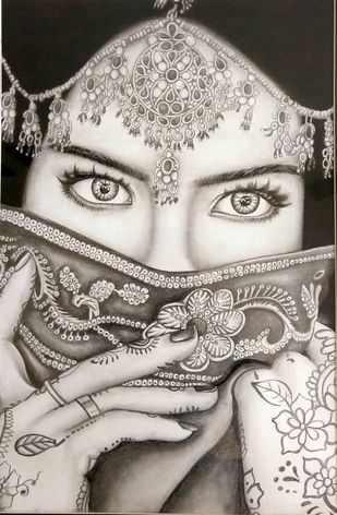 Indian girl by vanavil venkat, Illustration Drawing, Pencil on Paper, Birch color