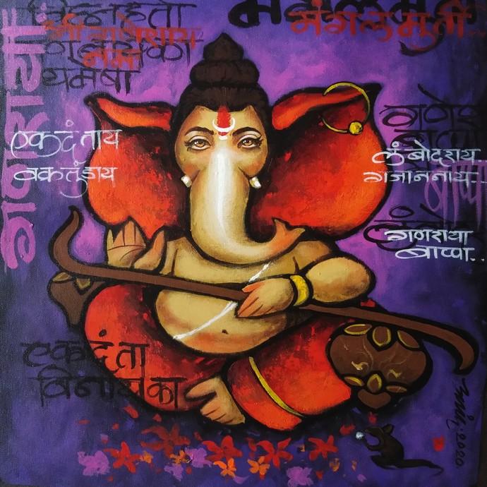 bappa by Anand Dharmadhikari, Decorative Painting, Acrylic on Canvas, Cedar Chest color