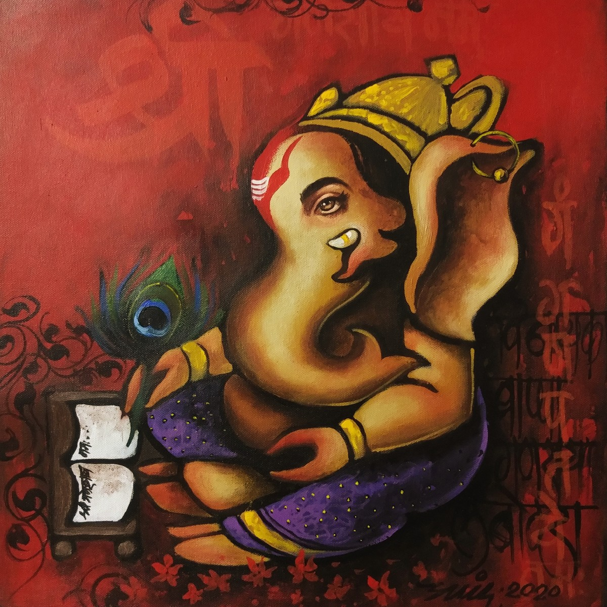 bappa by Anand Dharmadhikari, Traditional Painting, Acrylic on Canvas, Burnt Umber color