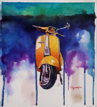 Scooter by Nagarajan Sundaram, Impressionism Painting, Watercolor on Board, San Juan color