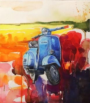 Scooter004 Digital Print by Nagarajan Sundaram,Impressionism