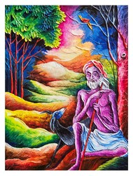 Goatherder by Ajith Kumar K. K., Fantasy Painting, Acrylic on Canvas, Blue Dianne color