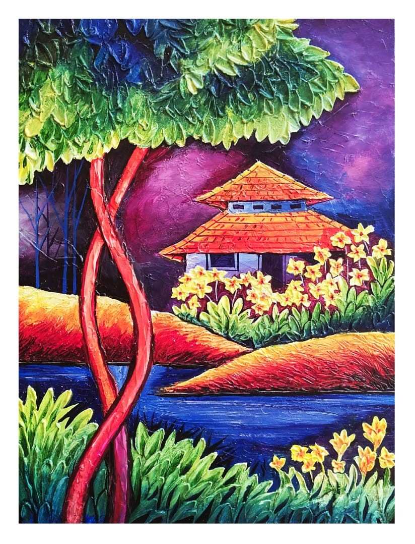 The house amidst nature #1 by Ajith Kumar K. K., Fantasy Painting, Acrylic on Canvas, Tonys Pink color